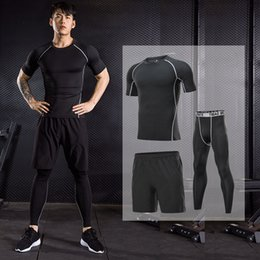 tracksuit tights Canada - FASTORM Sportswear Running Sets Men Fitness Jogging Compression Tracksuit Quick Dry Tight Gym Sport Set