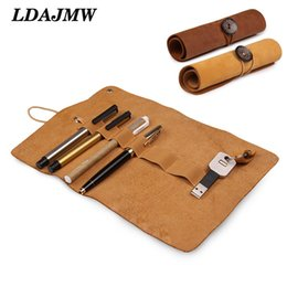 Discount genuine leather rolls - LDAJMW Dermis Organizer Genuine Leather Case Storage Bag Cosmetic Storage Bag USB Data Cable Earphone Wire Pen Box