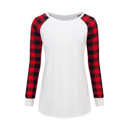 Best Wholesale T Shirts Australia - 5XL Plus Size Women Plaid Panel Raglan T-shirts Large Size Long Sleeve Pullover T-shirt Fashion Sweatshirt Spring Autumn Shirt Tops Best