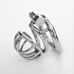 Chinese  2018 New Male Chastity Devices Metal Mens Small Cock Cage Stainless Steel Penis Restraints Locking Cock Ring BDSM Bondage manufacturers