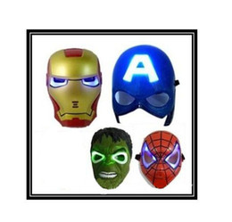 Adult Captain America Mask UK - New hot LED Glowing Light Mask hero SpiderMan Captain America Hulk Iron Man Mask For Kids Adults Party Halloween Birthday