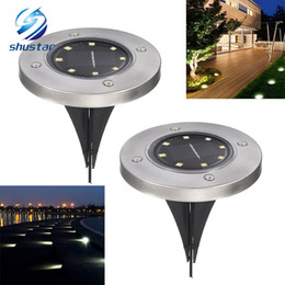 ground pathway lights 2019 - Solar Powered Ground Light Waterproof Garden Pathway Deck Lights With 8 LEDs Solar Lamp for Home Yard Driveway Lawn Road