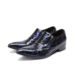 Men's Shoes 2018 Shiny Mixed Color Metallic Mens Pointed Toe Dress Shoes Italian Mens Shoes Brands Oxford Formal Snake Skin Shoes For Men A Great Variety Of Goods