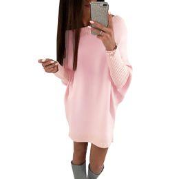 Tee Shirts Fur Canada - 2018 Spring Fashion Women T-Shirt Dress Batwing Sleeve Casual Short Party Dresses Elegant Ladies Loose Long Tee Shirt Mini Dress