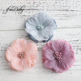 Fabric Hair Brooches Australia - Unfinished craft flower accessories for hair shoes brooch kids women fabric Artificial flowers Frayed edges flowers