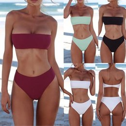 HigH waisted fasHion swimwear online shopping - Women s Fashion Bikinis Sexy Swimsuits for Women Strapless Bathing Suit High Waisted Bikini Sets Beach Swimwear Bikini Girls Monokini