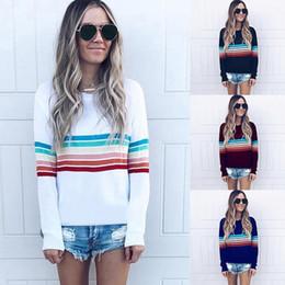 Discount red blue white striped t shirt - Women Casual O-neck Rainbow Stripe T-shirt 2018 White Black Streetwear Female Spring Autumn Long Sleeve Tee Shirt Tops