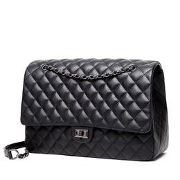 big women messenger bags brand leather shoulder bag maxi jumbo flap bags  black quality chains handbag Bolsa Sac rhombic lattice f738515ee9ea3