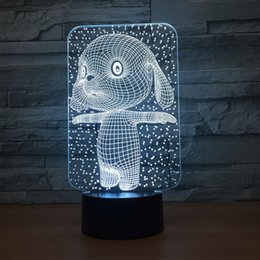 lighted dog ball 2019 - Cute Dog 3D Optical Illusion Lamp Night Light DC 5V USB Powered AA Battery Wholesale Dropshipping Free Shippin cheap lig