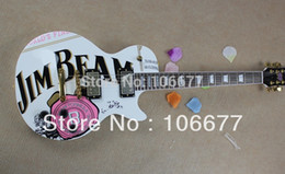 White Rose Models Canada - Free shipping G LP JIM BEAM model with pink rose flower decal on body top white color OEM Les Standard Electric Guitar