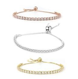 0e988c782eba Pandora estilo pulsera de tenis ajustable para mujeres joyería de la boda  de calidad superior piedras CZ 925 plata rodio oro rosa y chapado en oro