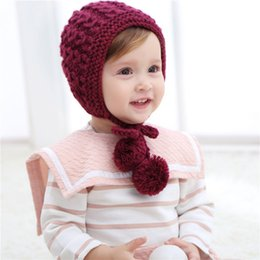baby girl knitted winter bonnets 2019 - 2018 New Knit Baby Hat Cap Lace Up with Double Pom Pom Infant Girls Boys Warm Cap Winter Autumn Baby Bonnet Kids Hat Bea