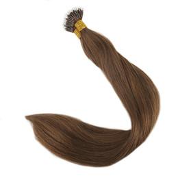 Chinese  Nano Ring Human Hair Extensions Color #6 Medium Brown Remy Human Hair Extensions Nano Tip Human Hair Extensions manufacturers