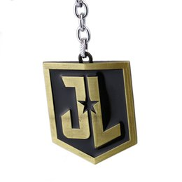 Superhero Keychains Canada - The Super Hero Justice League keychains JK logo key ring Superhero Figure Keychain for men's gift