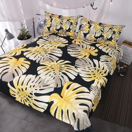 $enCountryForm.capitalKeyWord NZ - BlessLiving Modern Tropical Leaf Bedding Set Gold Monstera Leaves Shiny Pattern Duvet Covers Summer Floral Bed Set Black White