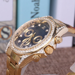 pearl watch men 2018 - Luxury Gold President Day-Date Diamonds Watch Men Stainless Mother of Pearl Dial Diamond Bezel Automatic WristWatch AAA