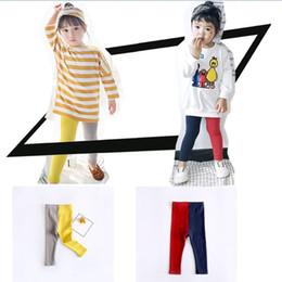 $enCountryForm.capitalKeyWord NZ - 2018 Spring Fashion Girl Pants Baby AB Side Leggings Contrast Color Panelled Skinny Long Pants Children Clothing Wholesale