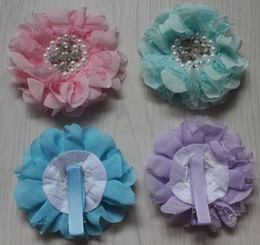 center clips Australia - 20pcs 9cm pearl rhinestone center chiffon lace fabric flowers for girls hair accessories,hair clip flowers for babies,kids clip flowers