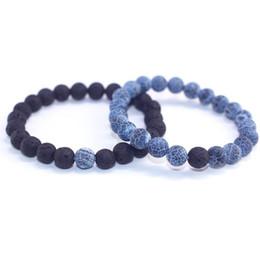 $enCountryForm.capitalKeyWord UK - Hot 2Pcs Set Couples Jewelry Classic Distance Bracelet Bangle For Men Women Black Lava Beaded Bracelets Yin Yang lovers Gift