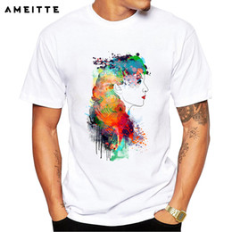$enCountryForm.capitalKeyWord Australia - Creative Splatter Paint And Ink Women Hair Design Printed T-shirt Men's Hipster Cool O - Neck Hight Quality Comfortable Male Tops