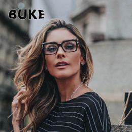 1d534772a44 BUKE 2018 Brand Design Metal Rivet Cat Eye Ladies Glasses Frames Square Women  Optical Fashion Eyewear Computer Glasses