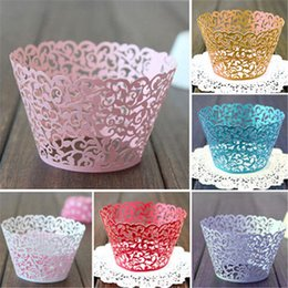 little cupcakes 2019 - 12PCS Hot Sanwony Little Vine Lace Laser Cut Cupcake Wrapper Liner Baking Cup Hollow Paper Cake Cup DIY Baking Fondant C