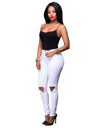 $enCountryForm.capitalKeyWord UK - High Waisted Ripped Jeans S,2XL White Ripped Hole Distressed Slim Skinny Denim Pencil Jeans for Women