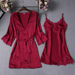 2c12c878cb Ladies Satin Nightwear Sets Women Pajamas Robe Embroidery Nightgowns 2018 Sexy  Lace Bathrobe Nighties Dress Sleepwear plus size