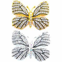 $enCountryForm.capitalKeyWord UK - High Quality Fashionable Rhinestone Butterfly Hats Suit Clips Hijab Pins Dress Wedding Bridal Brooch Pin for Women