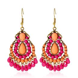 Chinese  Elegant Bohemian Tassel Earrings For Women Beads dangle Earrings statement earing Vintage 2018 Trendy boho Jewelry Wholesale manufacturers