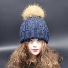 Cap Fur Ball Top Canada - knitted Hat Women Brand High Quality Winter Women Ball Ski RACCOON Fur Hat PomPoms Hats knitted scarf