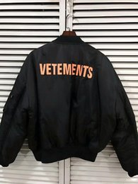 Justin bieber Jackets online shopping - NEW Ma1 Bomber Jacket Women men Double sided Wear Vetements letter oversize Justin Bieber jacket flight Windbreaker Coat XS L