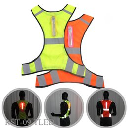 Discount motorcycle reflective jacket - LED Jacket Outdoor Working Clothes Unisex Running Reflective Sport Vest Polyester Fiber Outdoor Motorcycle lighting tool