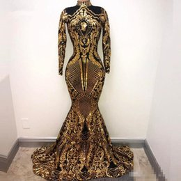 $enCountryForm.capitalKeyWord NZ - Gold and Black Sequined Long Sleeve Evening Dresses 2018 Floor Length luxury shiny mermaid Long Party Dresses for Women Prom Gowns