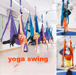 swing equipment NZ - Raction Device Yoga hammock Inversion Swing Trapeze hammock Anti-Gravity Belt Tool stretch rope fitness equipment 12Colors Yoga Swings