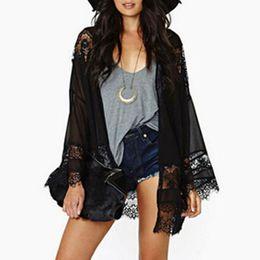 11693ff27e Black lace kimono cardigan online shopping - Plus Size Women Chiffon Kimono  Beach Outwear Tops Summer