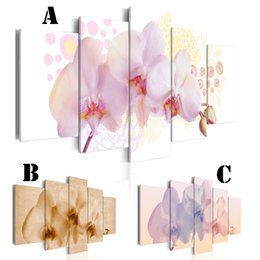 Wholesale Wall Art Canvas Painting for Home Decoration No Frame Extra Mirror Border panel Picture Abstract Orchids Flower