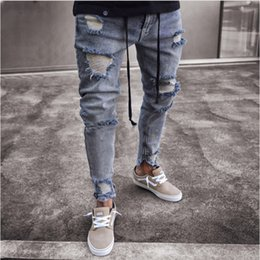 $enCountryForm.capitalKeyWord Canada - Trend New Skinny Ripped Jeans Men Fashion Ankle Zipper Hole Distressed Jeans Homme Brand Wash Cotton Hip Hop Denim Pants