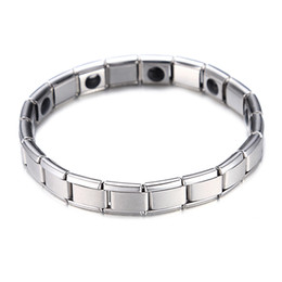 China Fashion Silver Plated Health Magnetic Bracelet For Women Top Quality Stainless Steel Magnet Bracelets & Bangle link Chain Jewelry Wholesale cheap magnets for health suppliers