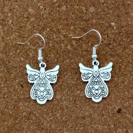Earrings Ear angEls online shopping - Flower Wing Angel Charm Earrings silver Fish Ear Hook pairs Antique silver Chandelier Jewelry x40 mm A e