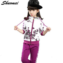 Discount sports jacket for girls - Autumn Girl Clothes Jacket Floral Kids Hoodies+Pants Kid Tracksuit For Girl children's Costume Sport Suit Christmas