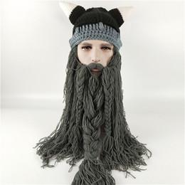 Viking Beard Hat Canada - Knit Men s Winter Hat Barbarian Vagabond Viking Beard  Beanie Crochet Caps cedc8dbc931