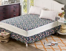 Discount pink floral full size bedding - Pastoral floral Twin full queen king Size 1pcs coon bed skirt with Non-slip elastic sheet cover Single   double bed beds