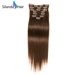 $enCountryForm.capitalKeyWord UK - Silanda Hair Hot Sale Nice #2 Dark Brown Straight Brazilian Remy Clip In Human Hair Extensions 7pcs set Free Shipping