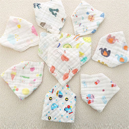 Discount feeding baby bibs - high quality lovely Baby snap fasteners cotton baby feeding infant bibs Animal Print baby bandana Print bibs T5I061