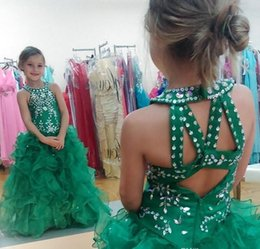 little girls mini skirts images NZ - 2018 Cute Green Girls Pageant Dresses Glizta Cupcake Dresses Sequins Beaded Puffy Skirt Toddler Girls Pageant Gowns for Little Kids Prom
