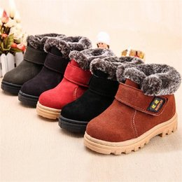 $enCountryForm.capitalKeyWord Canada - Children Boots Boys Girls Winter Snow Boots Plush Lined Cow Leather Waterproof Baby Shoes Kids Martin Sneakers Flats