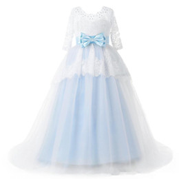 t length blue wedding dresses UK - White and Light Sky Blue Princess Wedding Dress Lace Top Overskirt Three Quarter Sleeve Satin Bow Ball Gown Bridal Gowns Custom Size