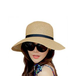 12a65c78434 New Women Fashion Summer Straw hat Sun hat Folding Travel Beach Cap With  Lovely Bow
