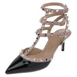 03dfd176e49f New Style Spring Summer Rivet Pointy Toe Sexy High-Heeled Shoe Type T  Bandage Dermis Hollow Out Thin High Heels Sandals Woman